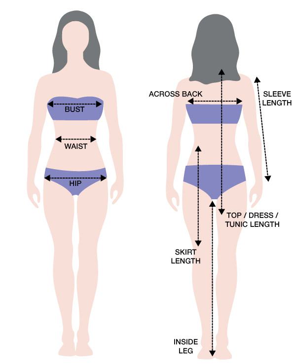 To measure your bust, simply take some measuring tape and wrap it around your breasts and back. Make sure the tape is wrapped straight around your body and covering your nipple area. This measurement should be ideally done with no bra on.