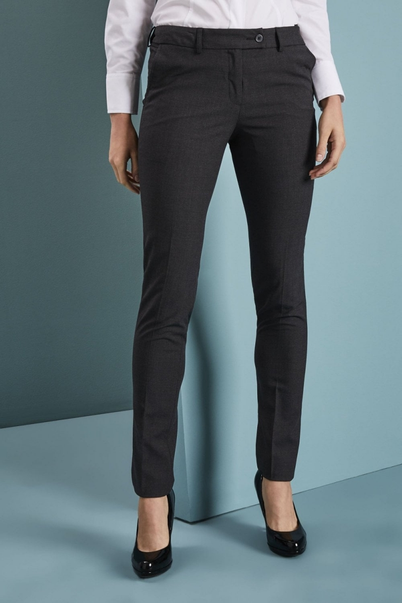 Qualitas Ladies Slim Leg Pants, Charcoal