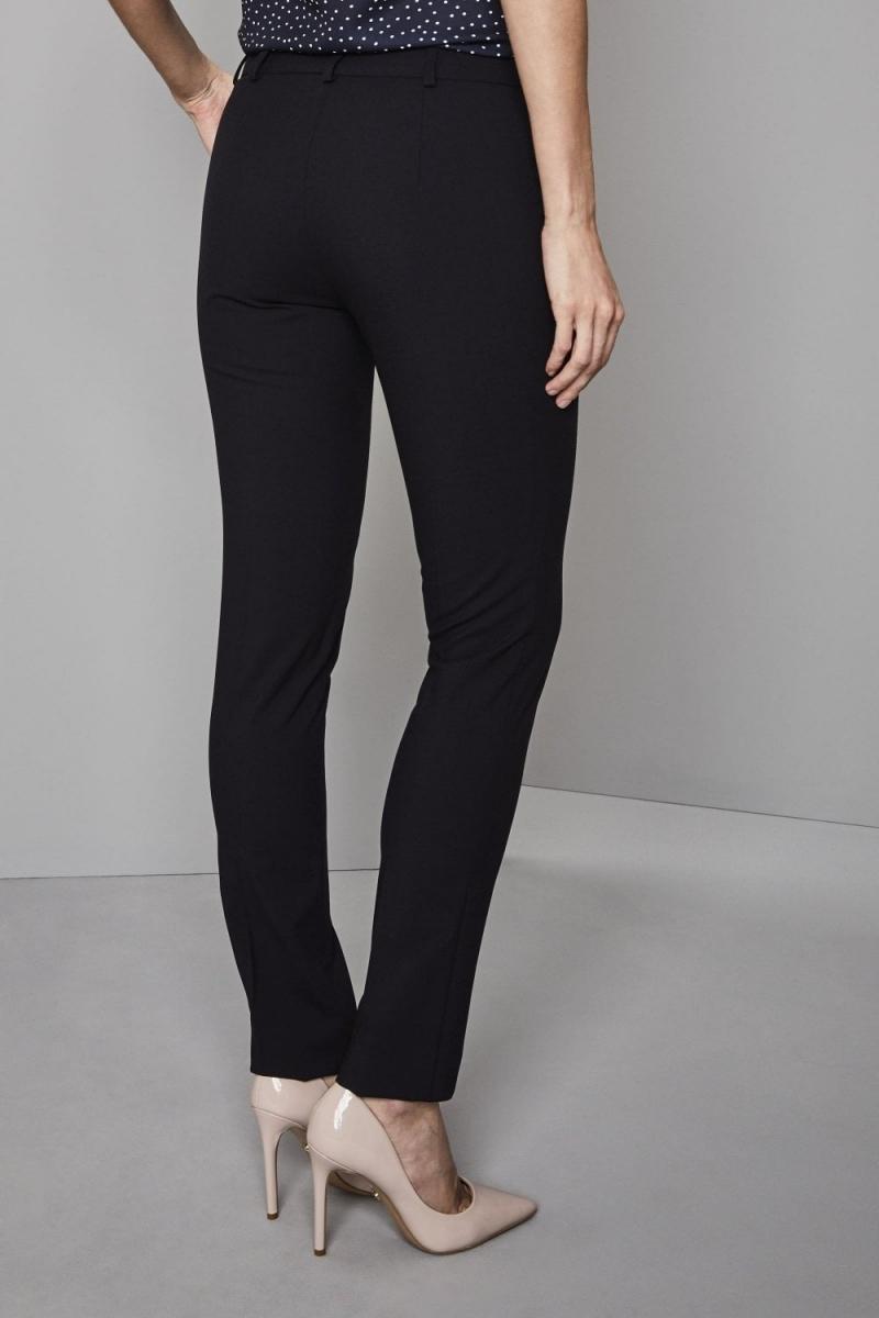 Qualitas Ladies Slim Leg Pants, Dark Navy, Unhemmed