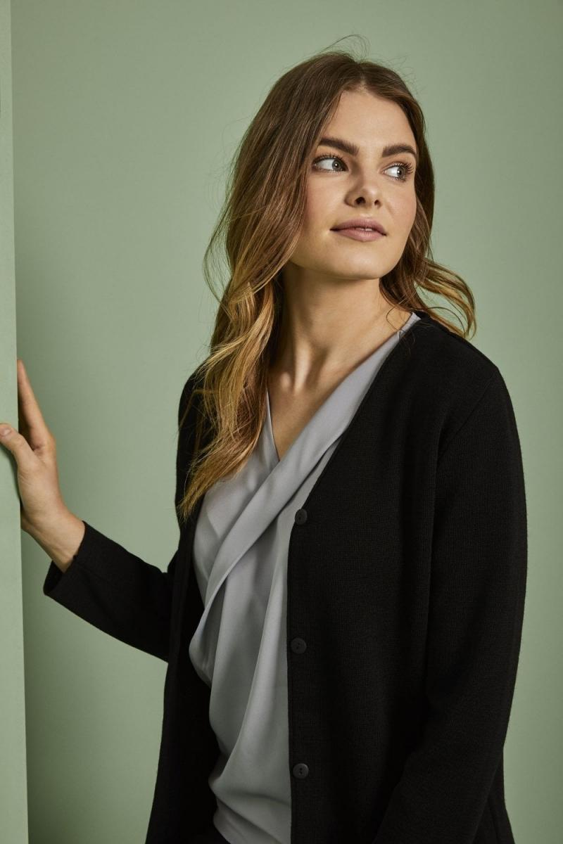 Cardigan Femme, option longue, Noir6