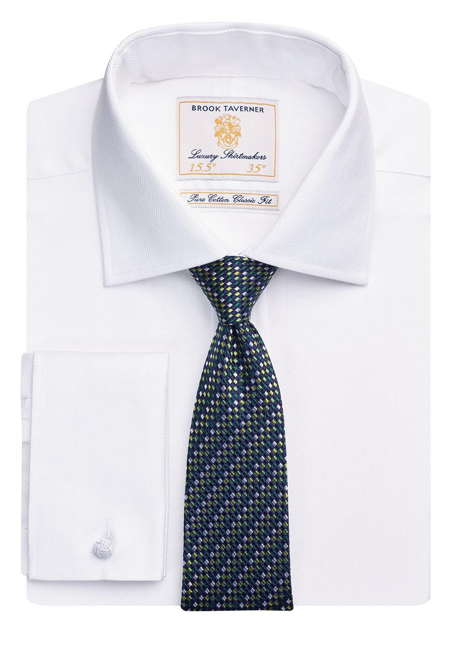 Andora Classic Fit Shirt Cotton Herringbone White Herringbone