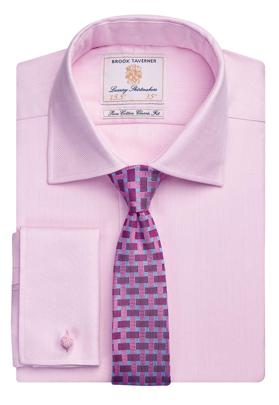 Andora Classic Fit Shirt Cotton Herringbone Pink H/B