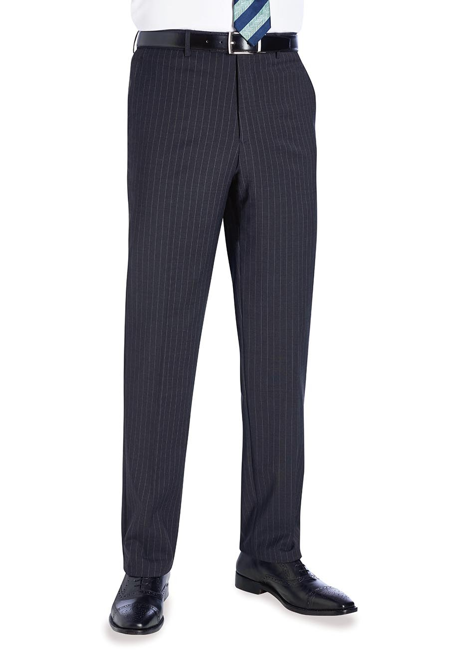 Avalino Flat Front Trouser Charcoal Pinstripe