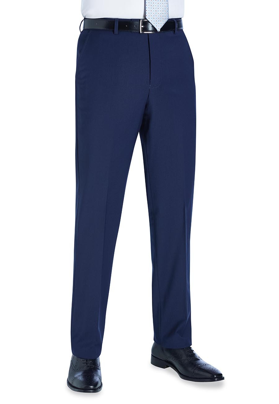 Avalino Flat Front Trouser Mid Blue
