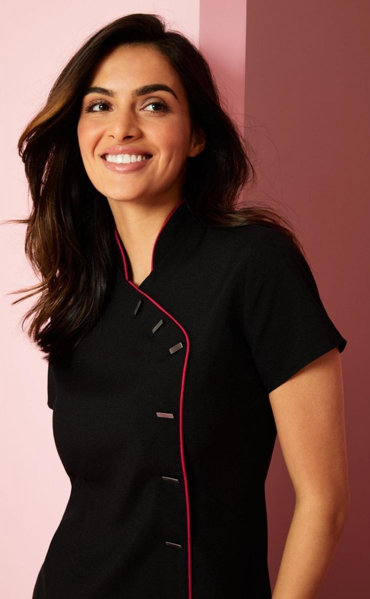 Asymmetrical Tunic, Black with Hot Pink Trim