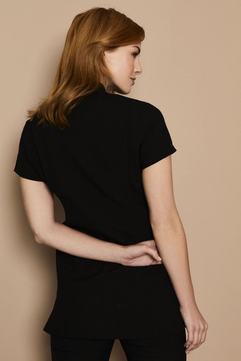 Asymmetrical Tunic, Black with Teal Trim
