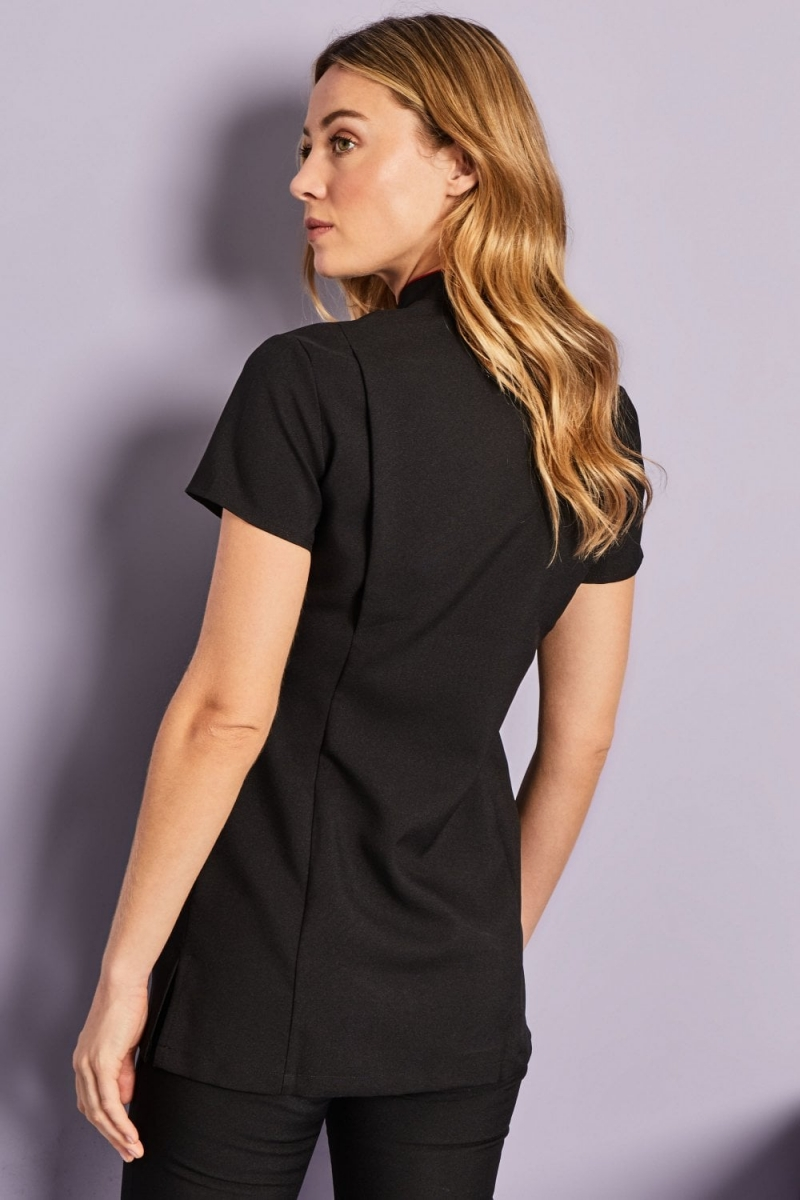 Asymmetrical Tunic, Black with Red Trim
