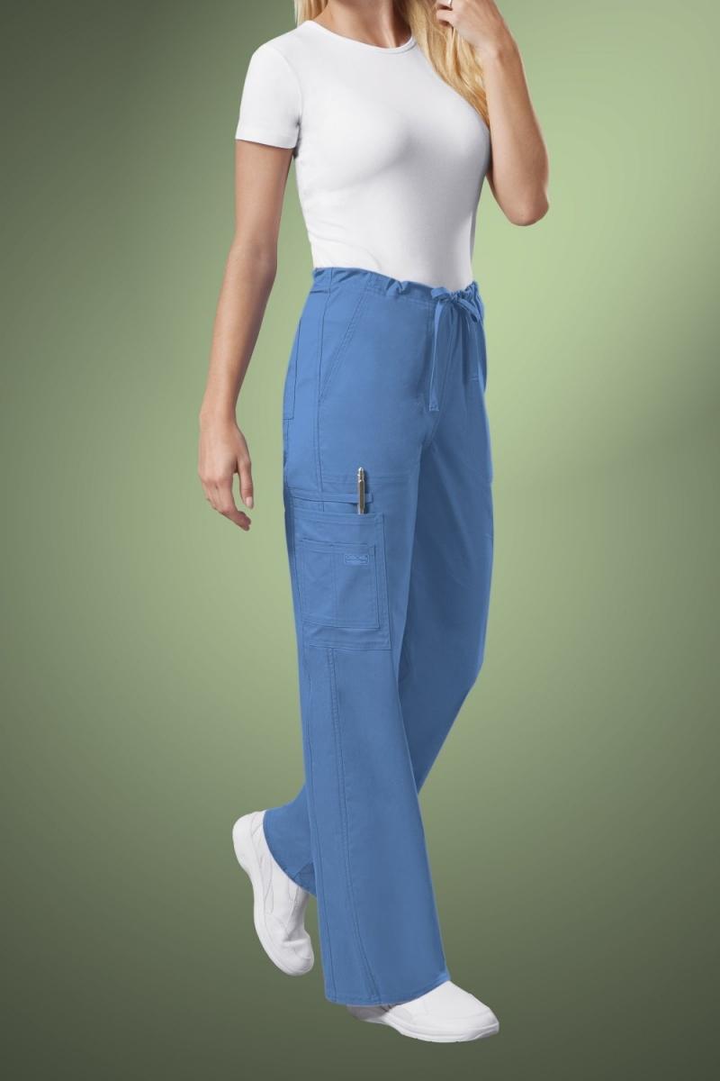 Cherokee Core Stretch Unisex Drawstring Cargo Scrub Trousers 4043, Sky Blue