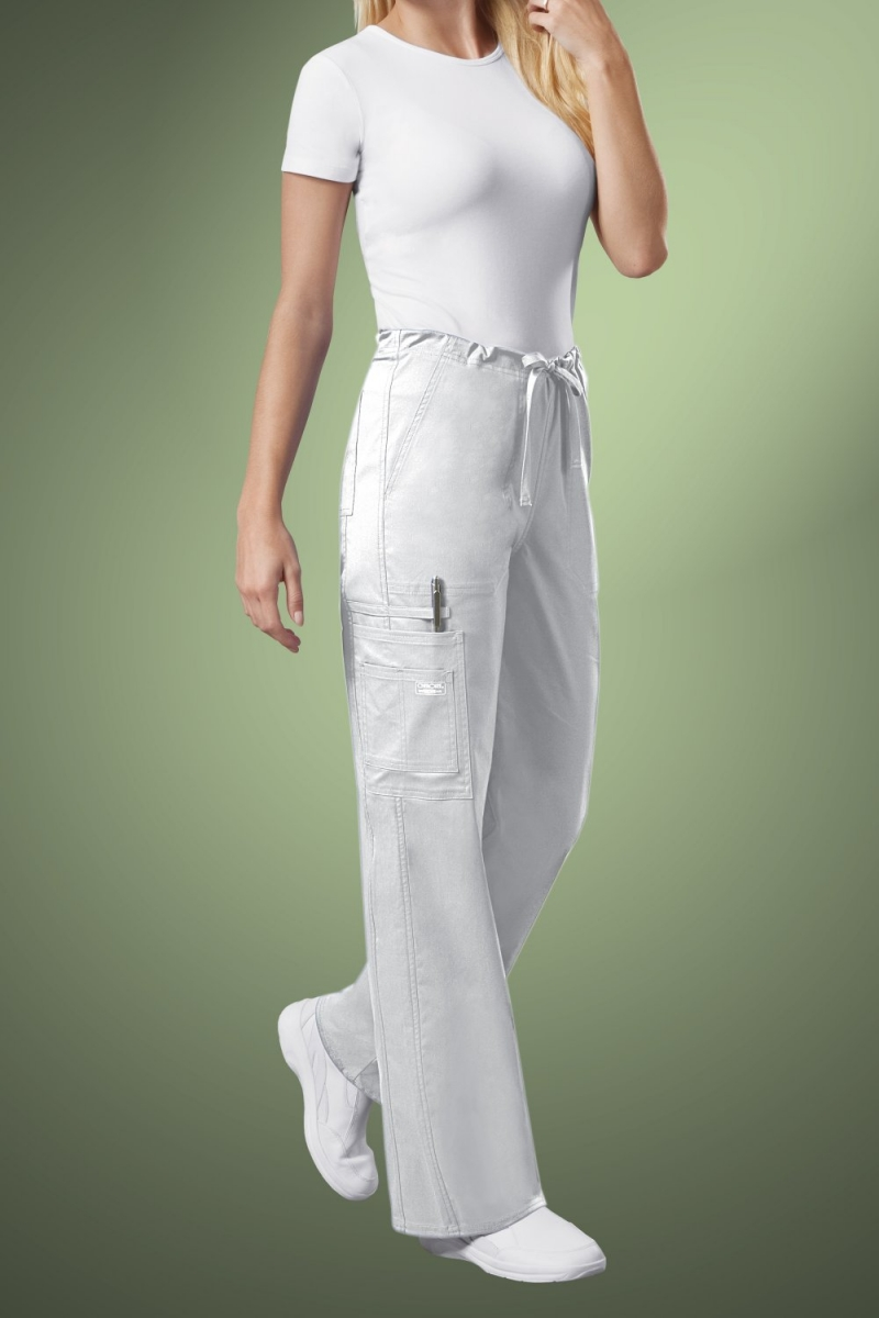 Cherokee Core Stretch Unisex Drawstring Cargo Scrub Trousers 4043, White