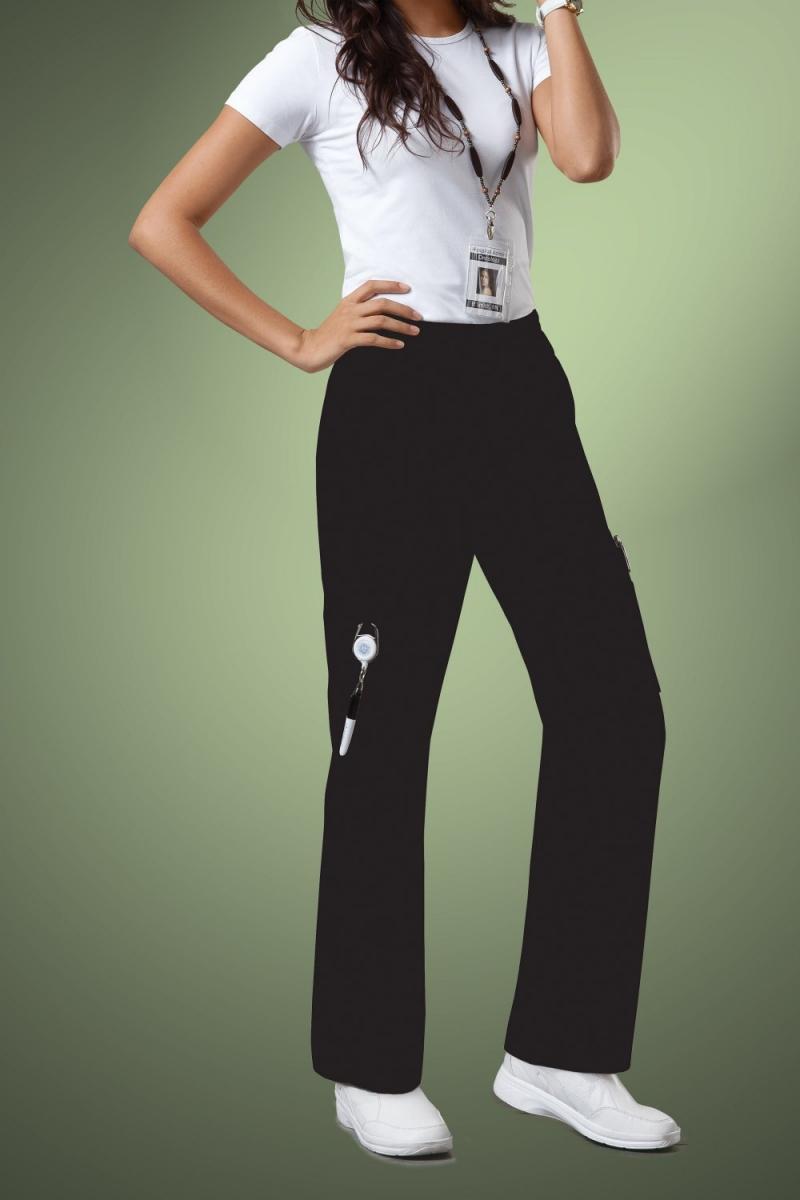 Cherokee Core Stretch Womens Mid Rise Pull-On Pant Cargo Scrub Pants 4005, Black