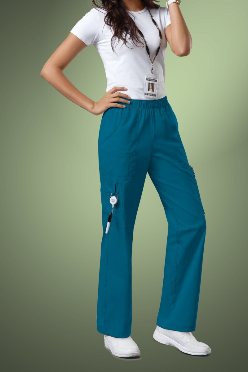 Cherokee Core Stretch Womens Mid Rise Pull-On Pant Cargo Scrub Pants 4005, Caribbean Blue