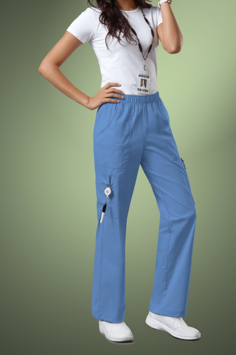 Cherokee Core Stretch Womens Mid Rise Pull-On Pant Cargo Scrub Pants 4005, Sky Blue