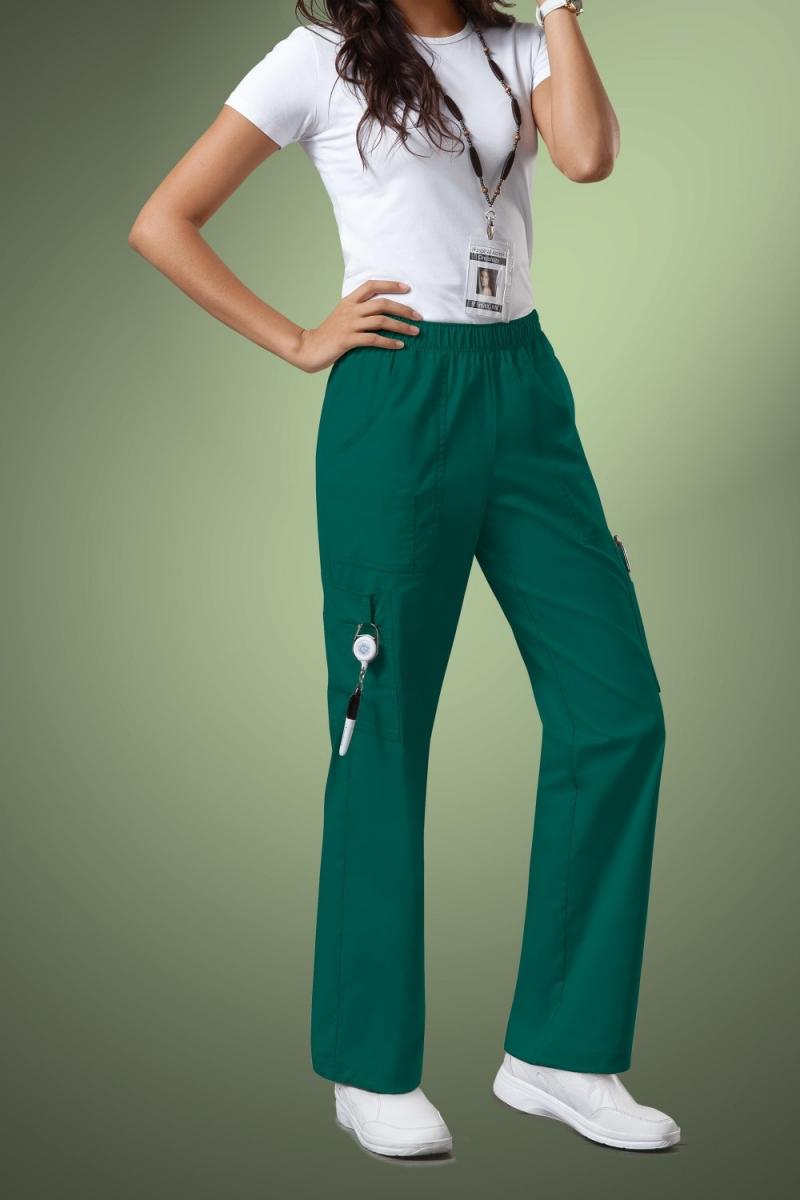 Cherokee Core Stretch Womens Mid Rise Pull-On Pant Cargo Scrub Pants 4005, Hunter Green