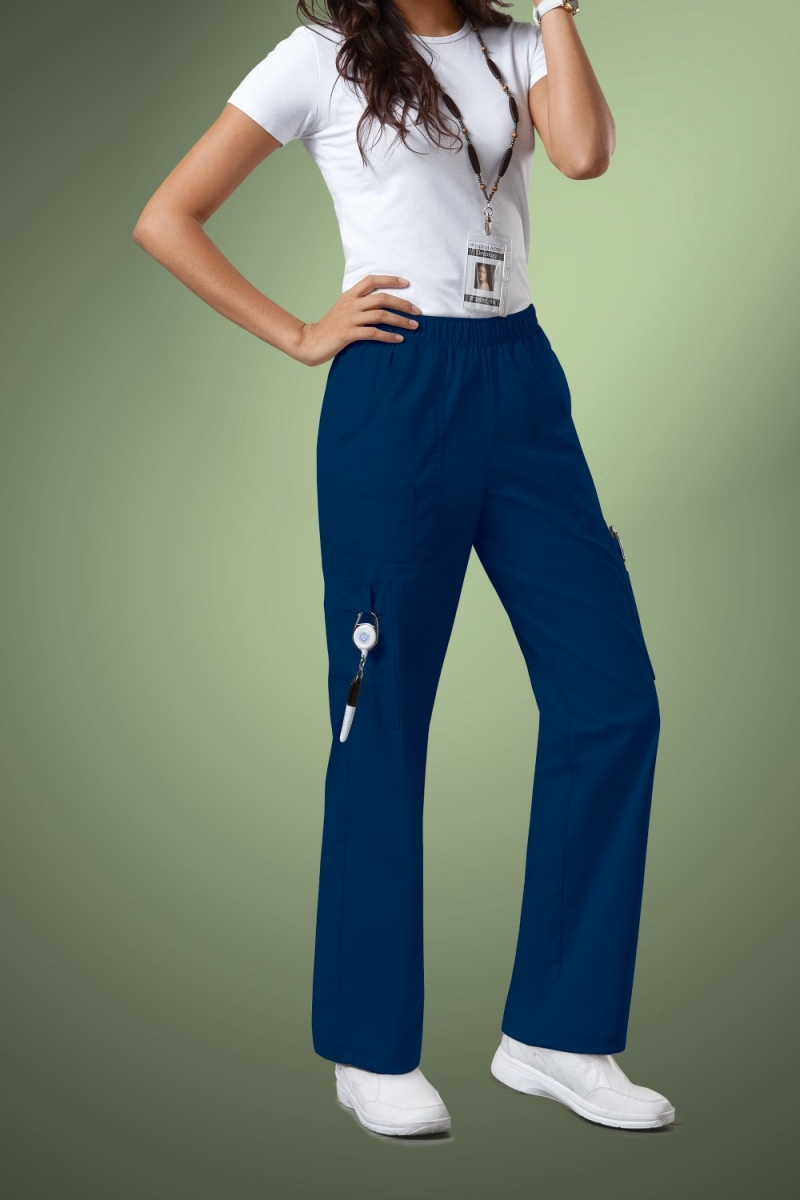 Cherokee Core Stretch Womens Mid Rise Pull-On Pant Cargo Scrub Pants 4005, Navy