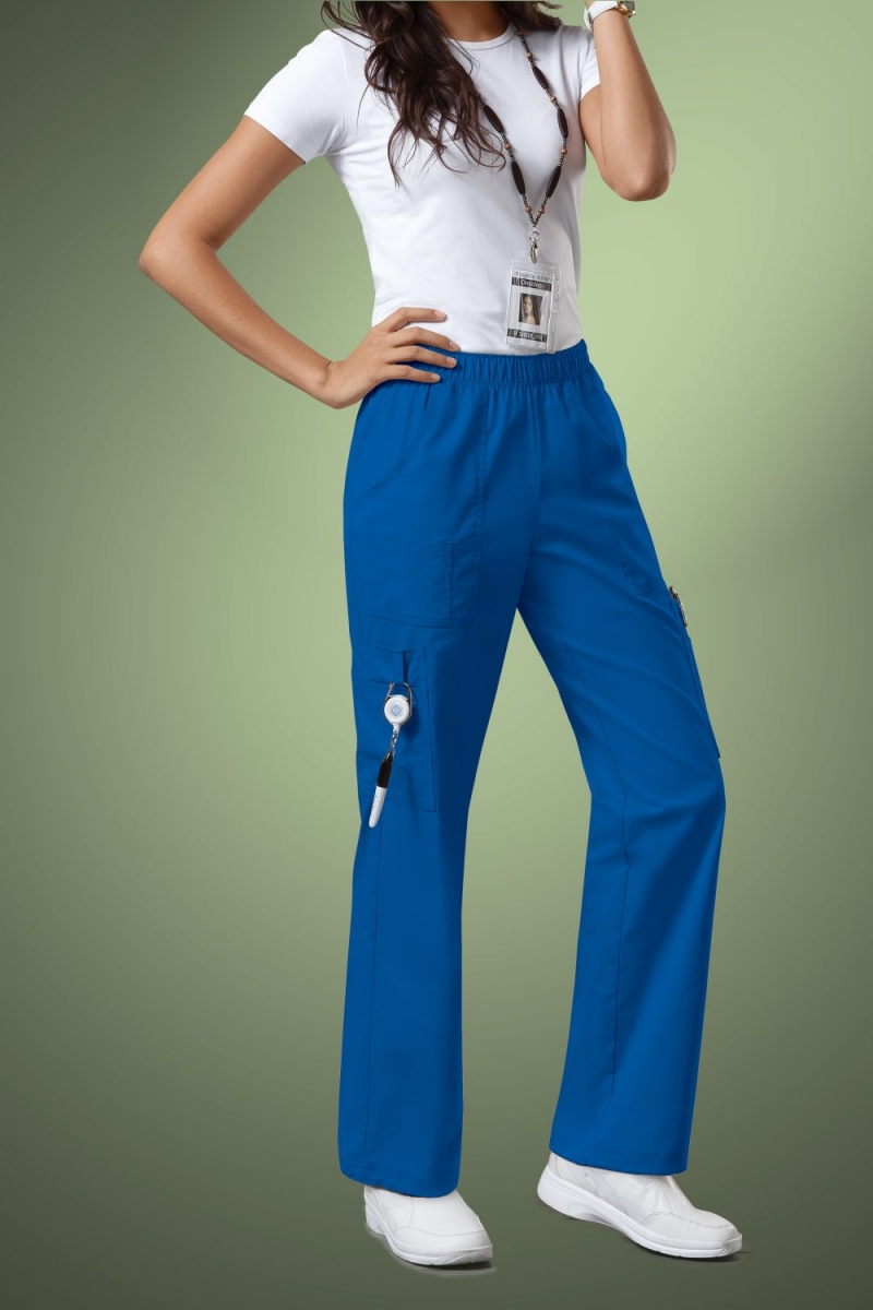 Cherokee Core Stretch Womens Mid Rise Pull-On Pant Cargo Scrub Pants 4005, Royal