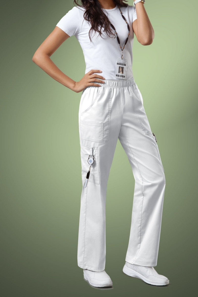 Cherokee Core Stretch Womens Mid Rise Pull-On Pant Cargo Scrub Pants 4005, White