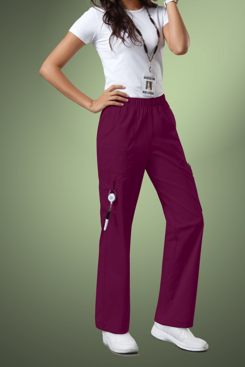 Cherokee Core Stretch Womens Mid Rise Pull-On Pant Cargo Scrub Pants 4005, Wine
