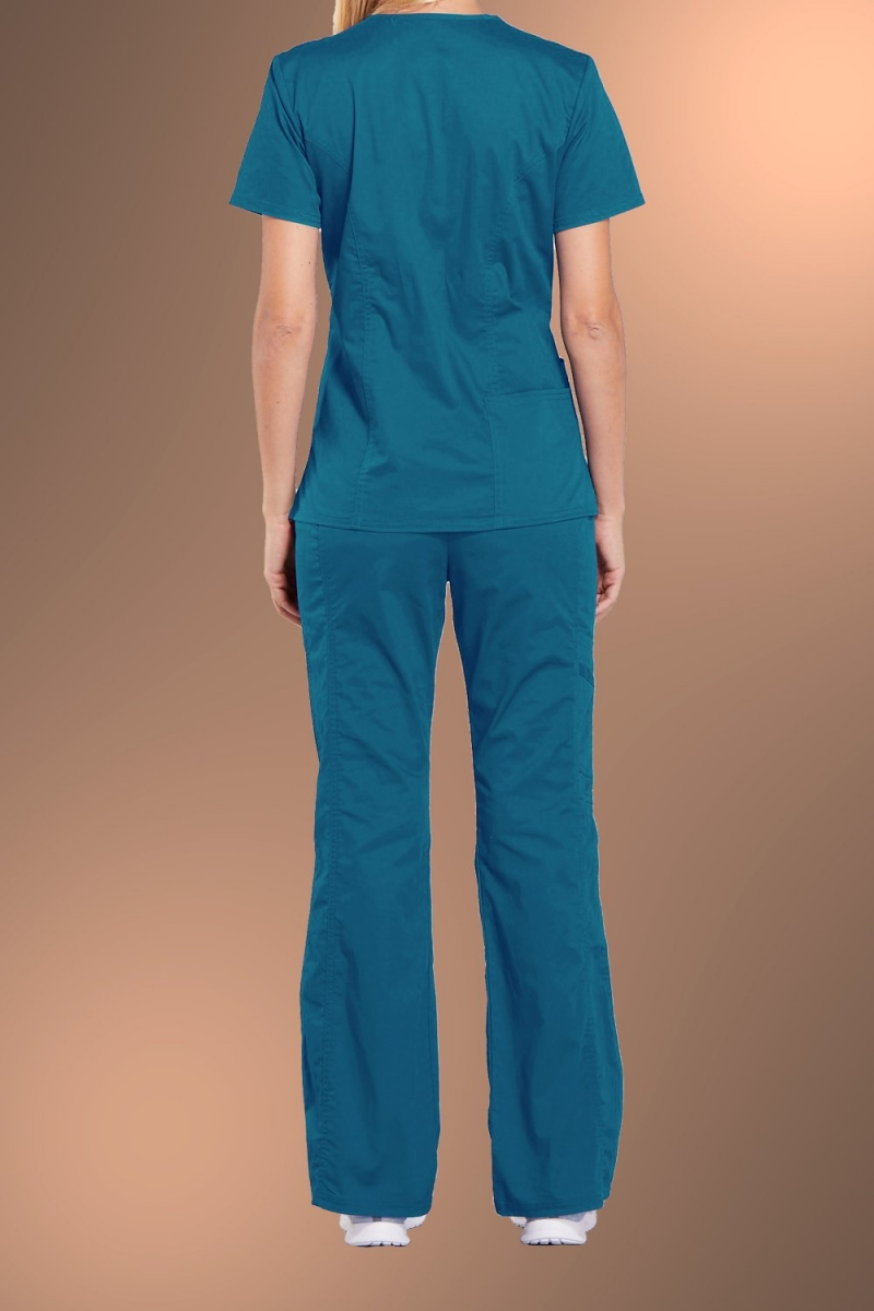 Cherokee Core Stretch Womens V Neck Scrub Top 4710, Caribbean Blue