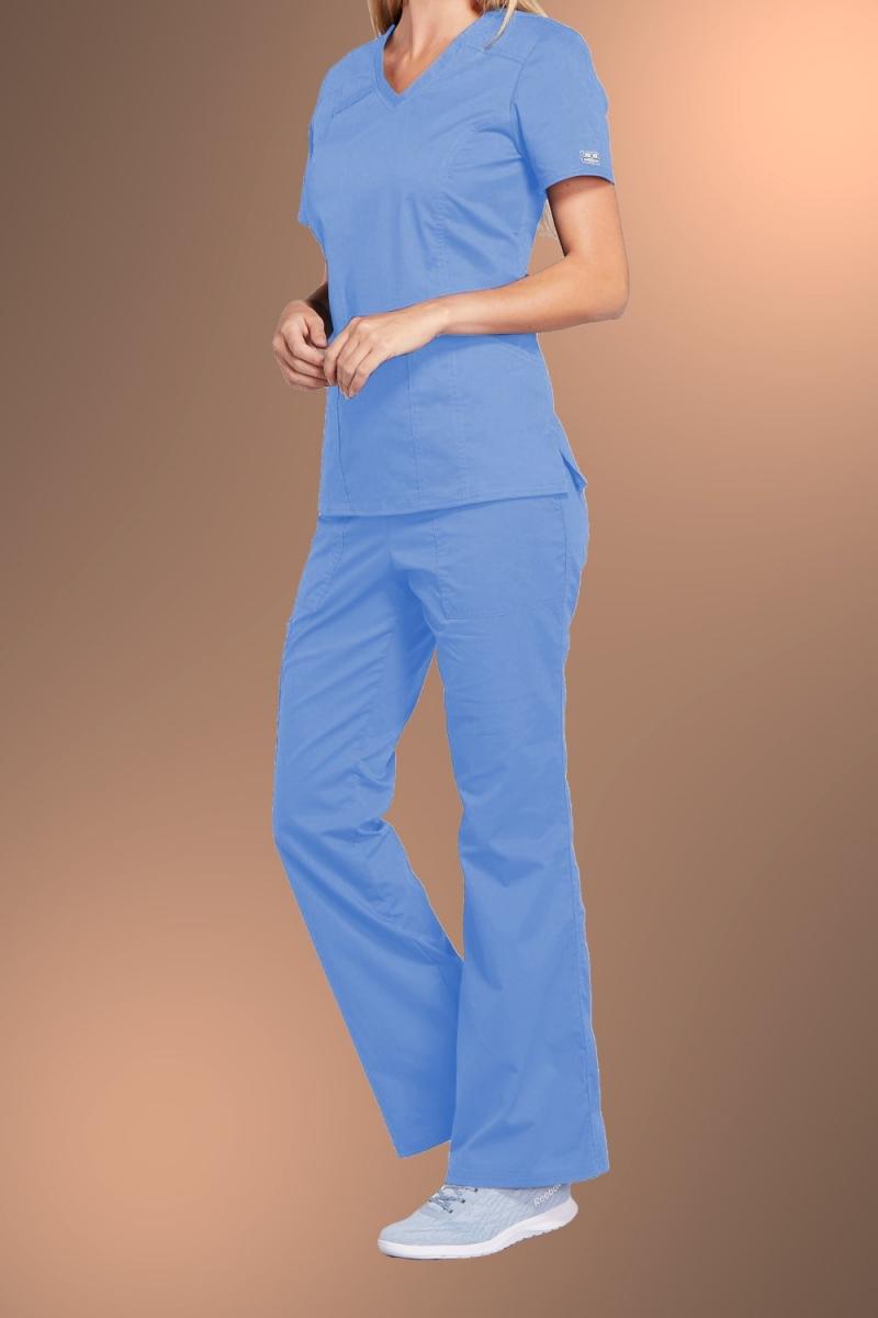 Cherokee Core Stretch Womens V Neck Scrub Top 4710, Sky Blue
