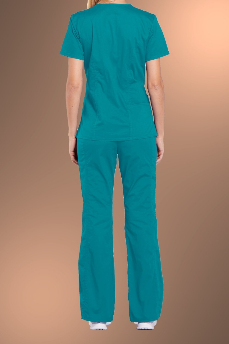 Cherokee Core Stretch Womens V Neck Scrub Top 4710, Teal Blue