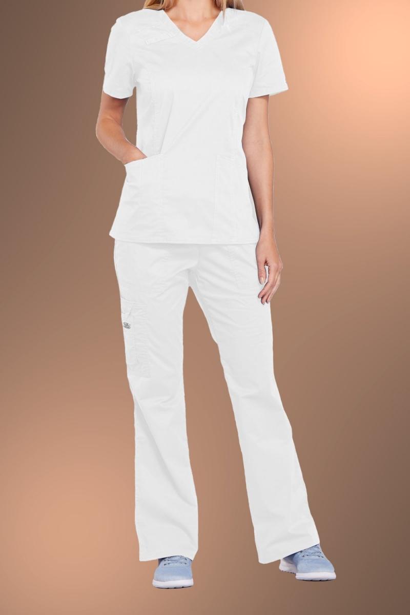 Cherokee Core Stretch Womens V Neck Scrub Top 4710, White