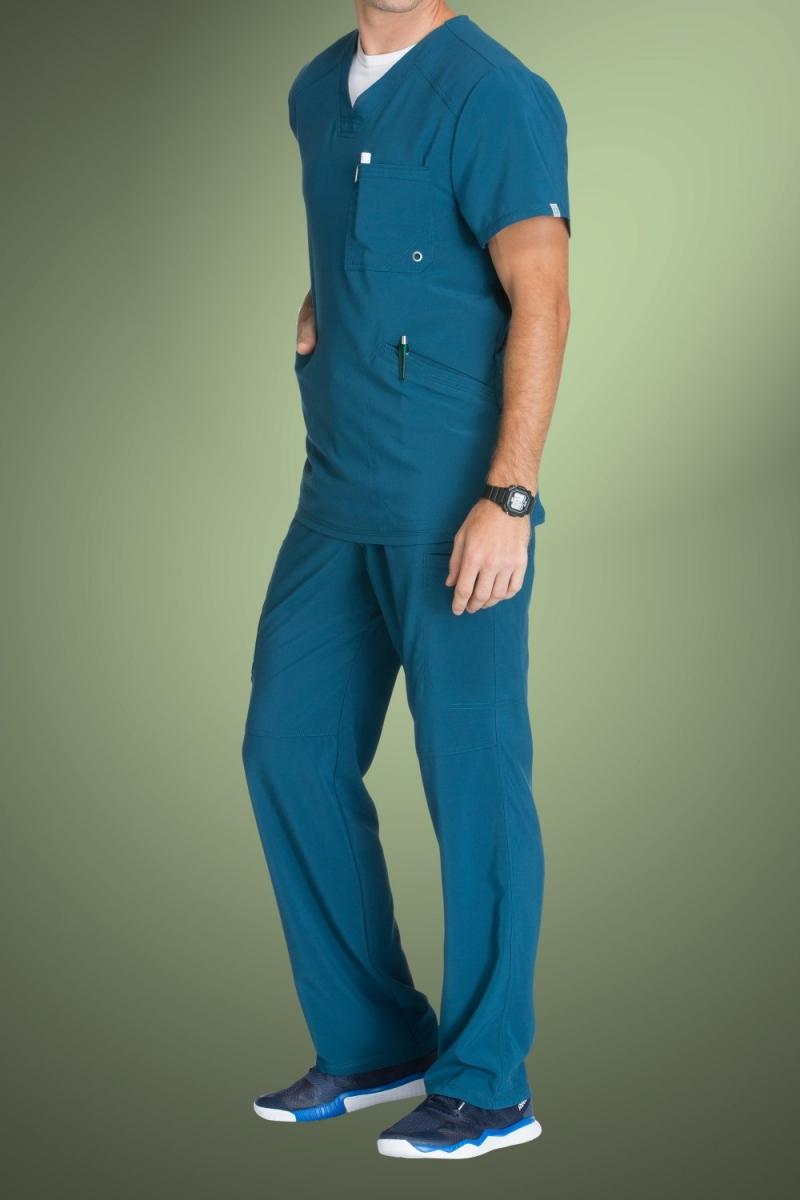 Cherokee Infinity Men's V-Neck Scrub Top CK900A, Caribbean Blue