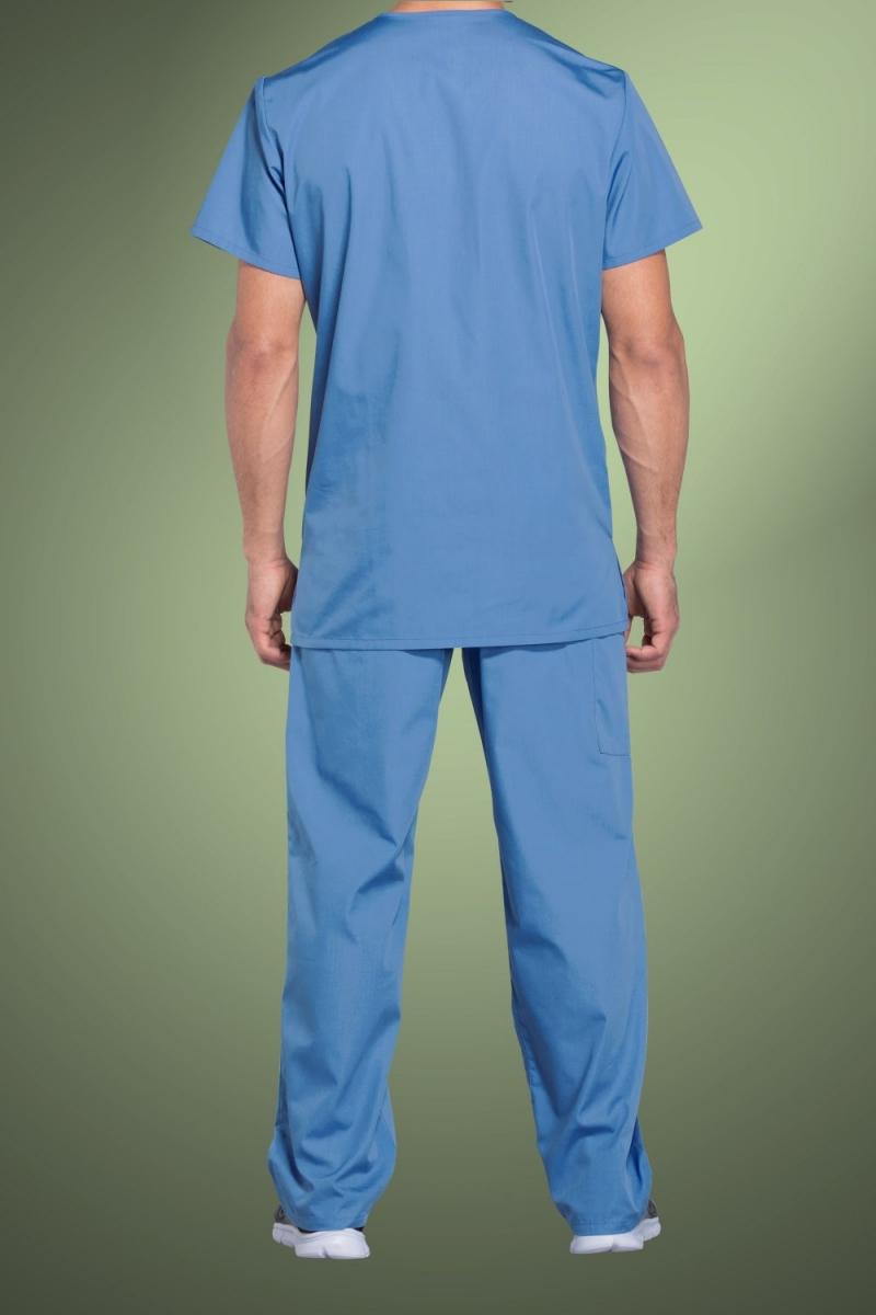 Cherokee Originals Unisex V-Neck Patch Pockets Scrub Top 4876, Sky Blue