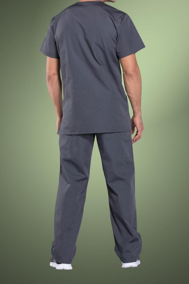 Cherokee Originals Unisex V-Neck Patch Pockets Scrub Top 4876, Pewter