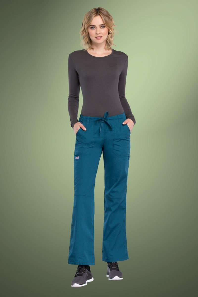 Cherokee Originals Women's Low Rise Drawstring Cargo Scrub Pants 4020, Caribbean Blue