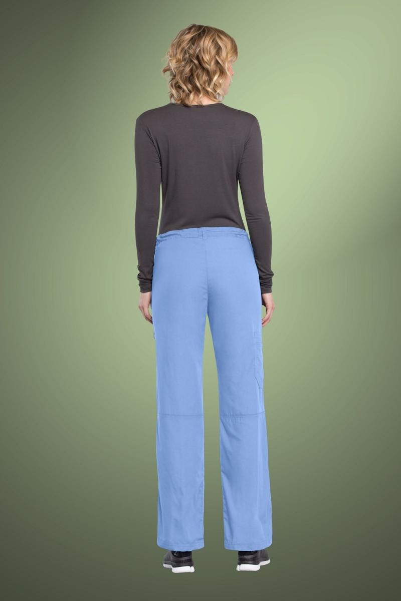 Cherokee Originals Women's Low Rise Drawstring Cargo Scrub Pants 4020, Sky Blue
