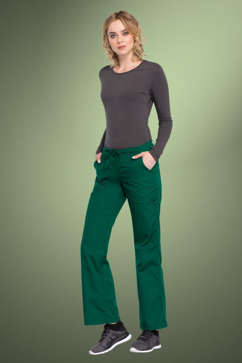 Cherokee Originals Women's Low Rise Drawstring Cargo Scrub Pants 4020, Hunter Green