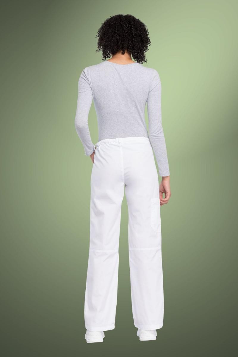Cherokee Originals Women's Low Rise Drawstring Cargo Scrub Pants 4020, White