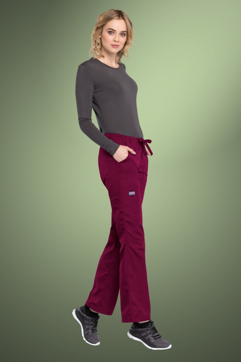 Cherokee Originals Women's Low Rise Drawstring Cargo Scrub Pants 4020, Wine
