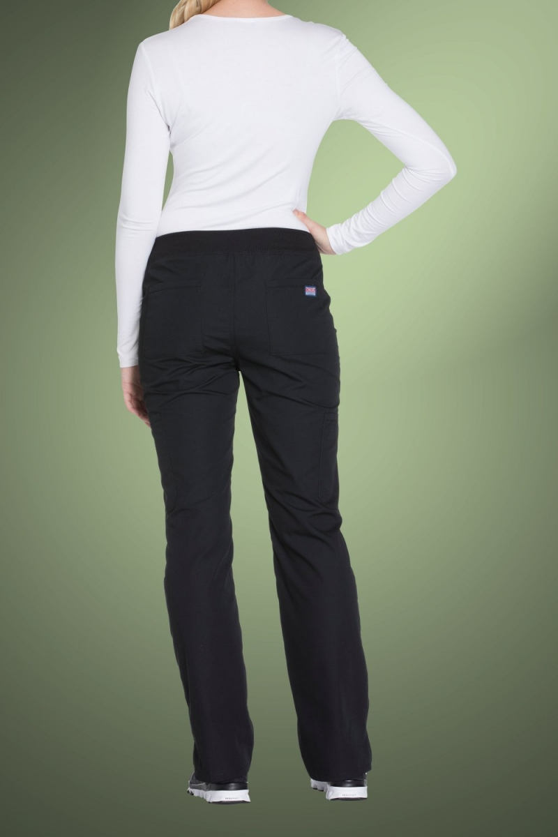 Cherokee Originals Women's Mid Rise Straight Leg Pull-On Cargo Pants WW210, Black