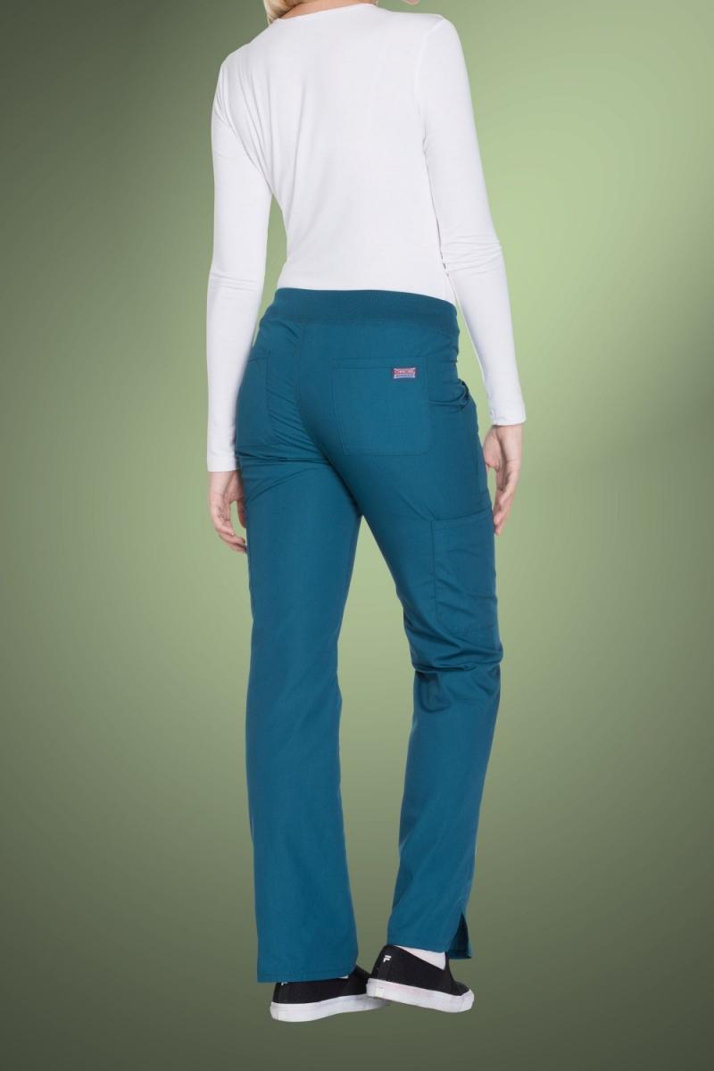 Cherokee Originals Women's Mid Rise Straight Leg Pull-On Cargo Pants WW210, Caribbean Blue