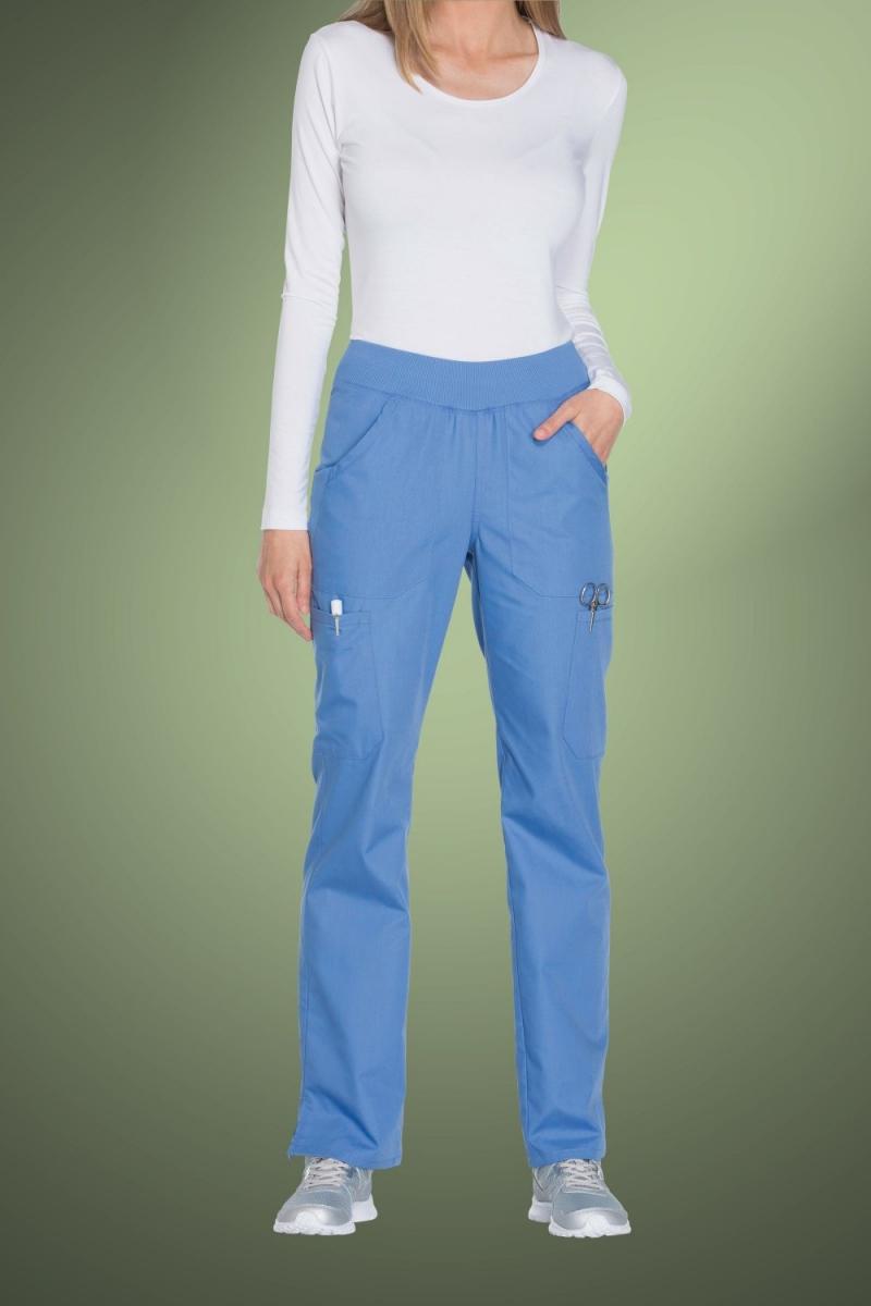 Cherokee Originals Women's Mid Rise Straight Leg Pull-On Cargo Pants WW210, Sky Blue