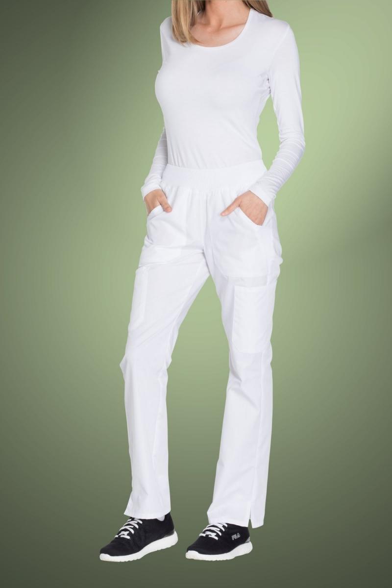 Cherokee Originals Women's Mid Rise Straight Leg Pull-On Cargo Pants WW210, White