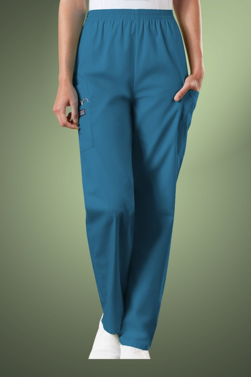 Cherokee Originals Women's Natural Rise Tapered Pull-On Cargo Scrub Trousers 4200, Caribbean Blue