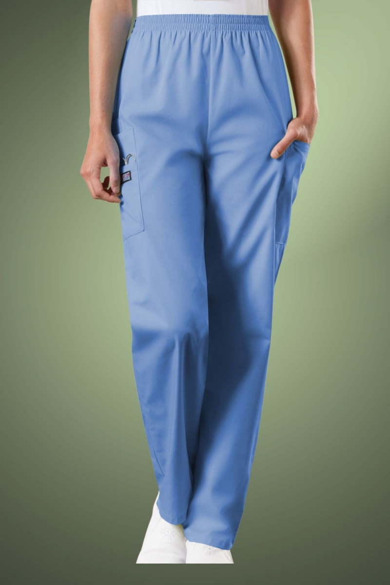 Cherokee Originals Women's Natural Rise Tapered Pull-On Cargo Scrub Trousers 4200, Sky Blue