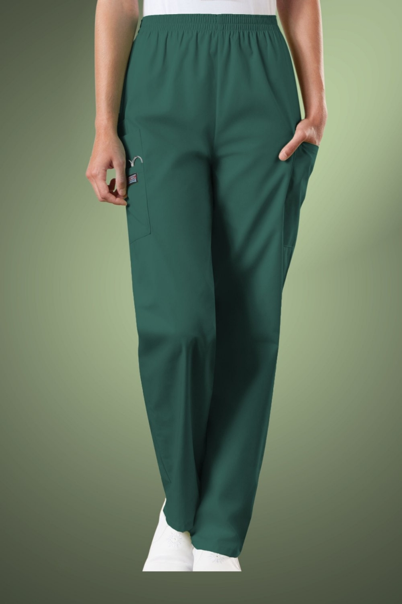 Cherokee Originals Women's Natural Rise Tapered Pull-On Cargo Scrub Trousers 4200, Hunter Green