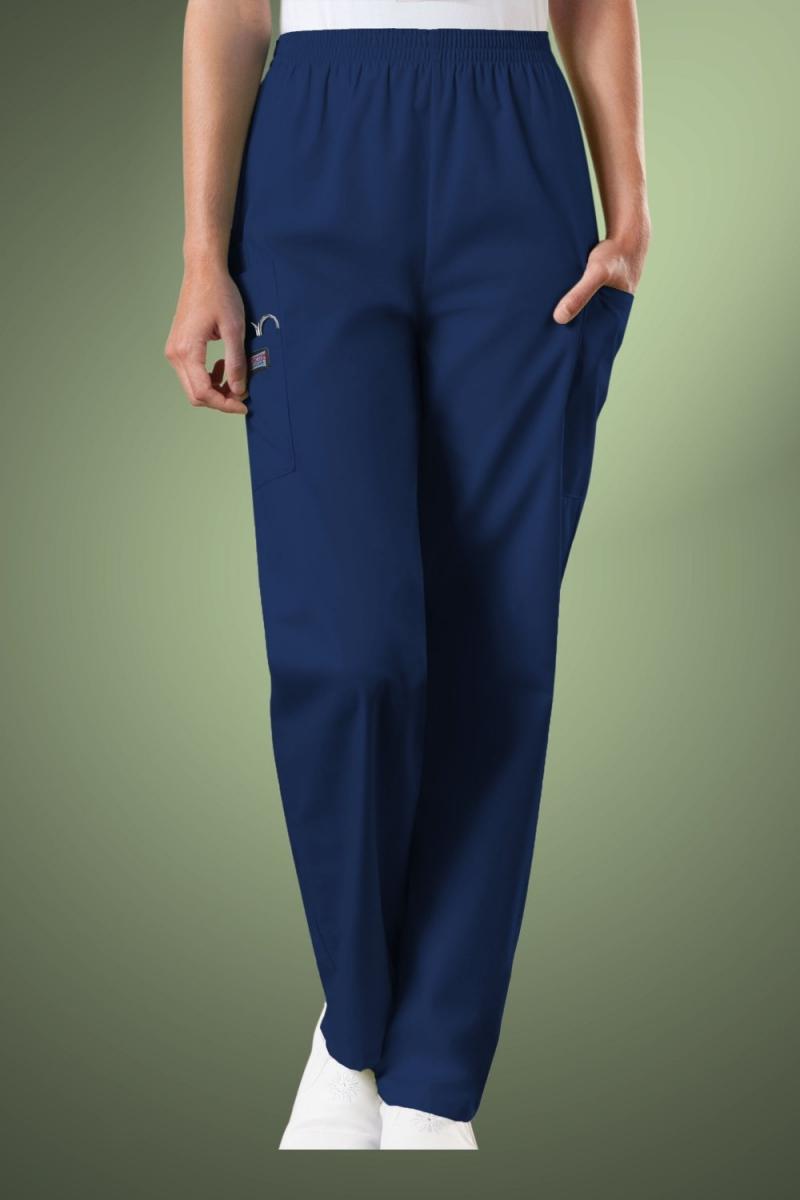 Cherokee Originals Women's Natural Rise Tapered Pull-On Cargo Scrub Pants 4200, Navy