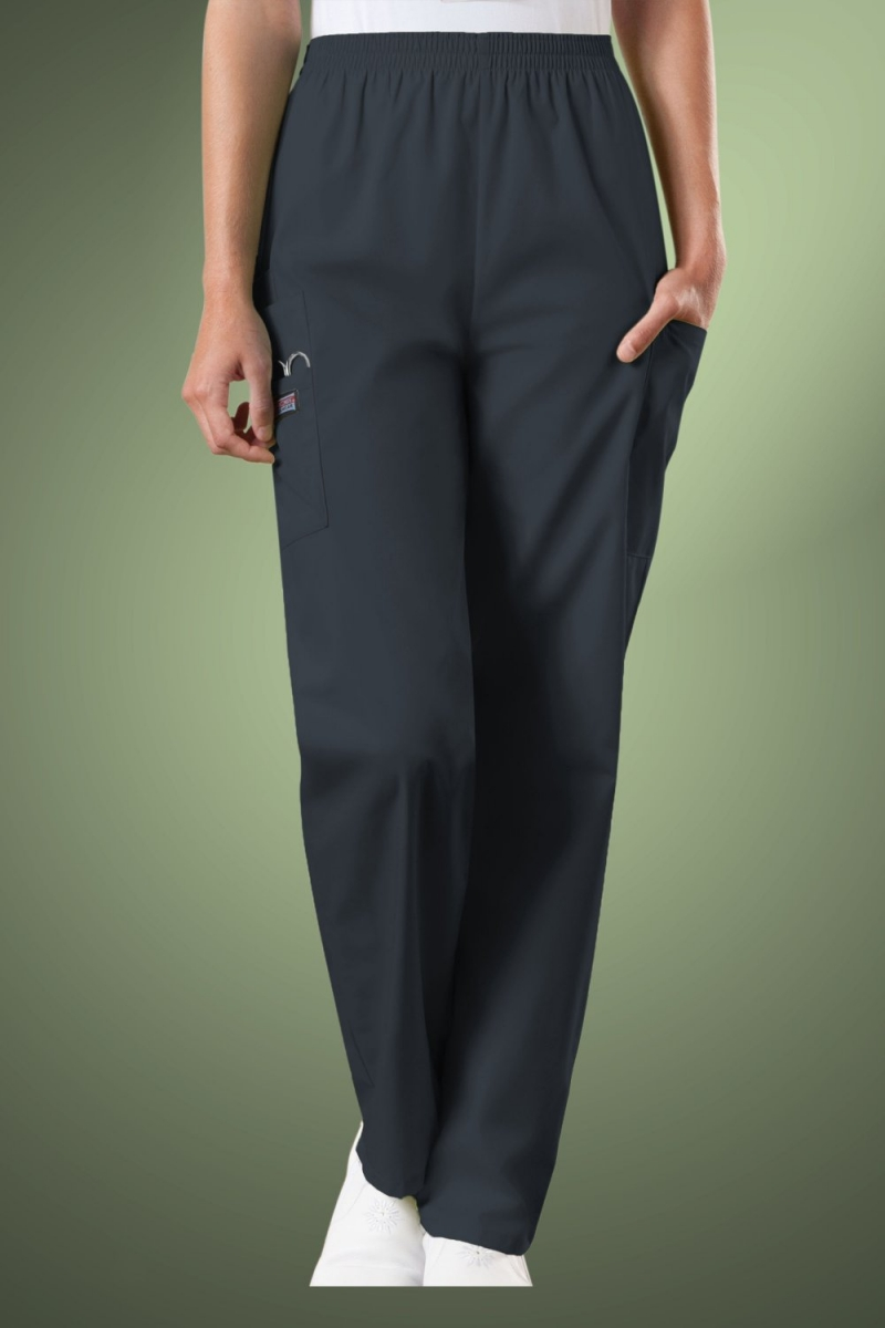 Cherokee Originals Women's Natural Rise Tapered Pull-On Cargo Scrub Trousers 4200, Pewter