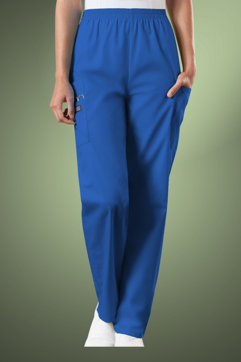 Cherokee Originals Women's Natural Rise Tapered Pull-On Cargo Scrub Trousers 4200, Royal