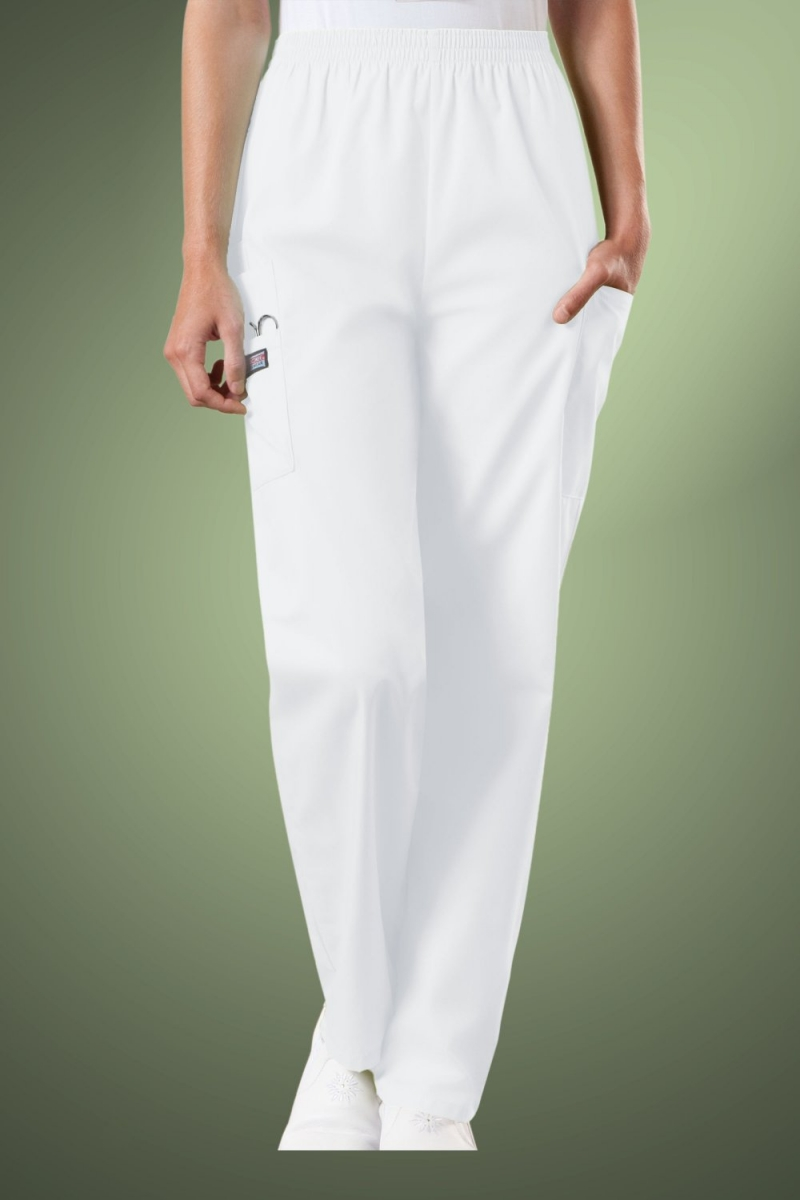 Cherokee Originals Women's Natural Rise Tapered Pull-On Cargo Scrub Trousers 4200, White