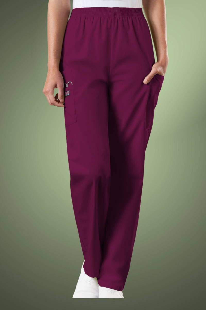 Cherokee Originals Women's Natural Rise Tapered Pull-On Cargo Scrub Trousers 4200, Wine
