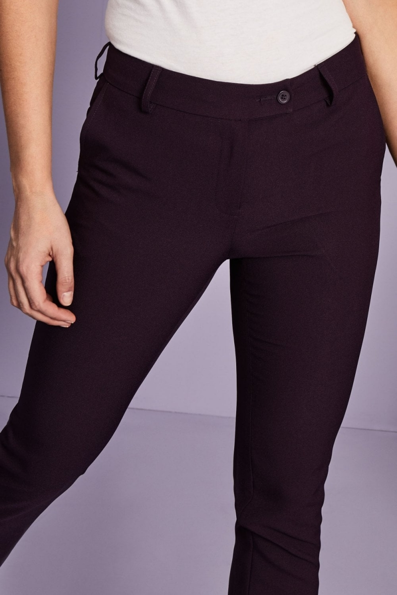 Ladies Slim Leg Pants, Unhemmed, Plum