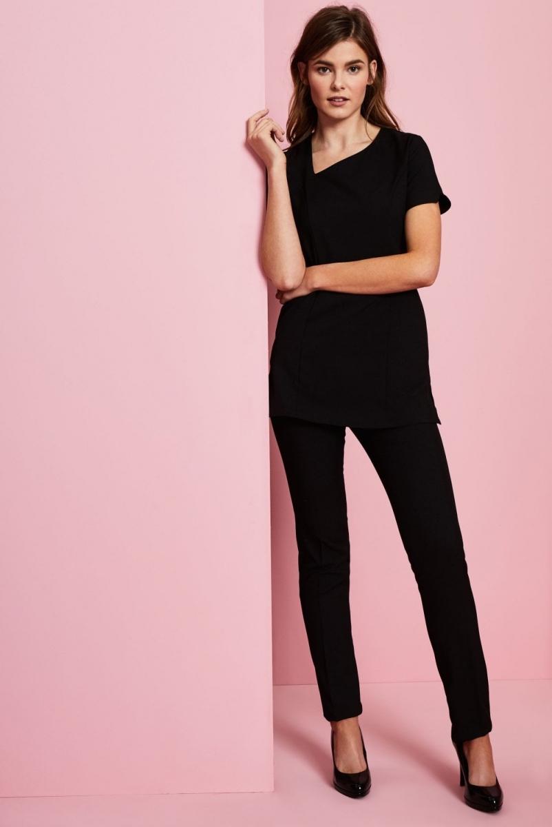 Ladies Slim Leg Pants, Unhemmed, Black