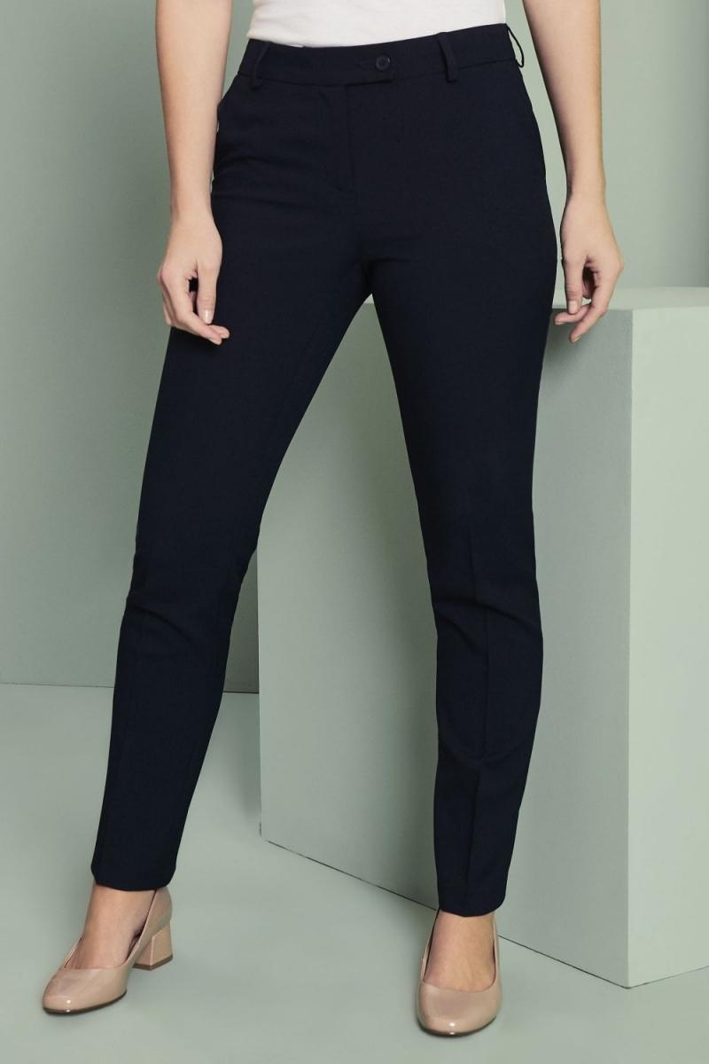 Ladies Slim Leg Pants, Unhemmed, Navy