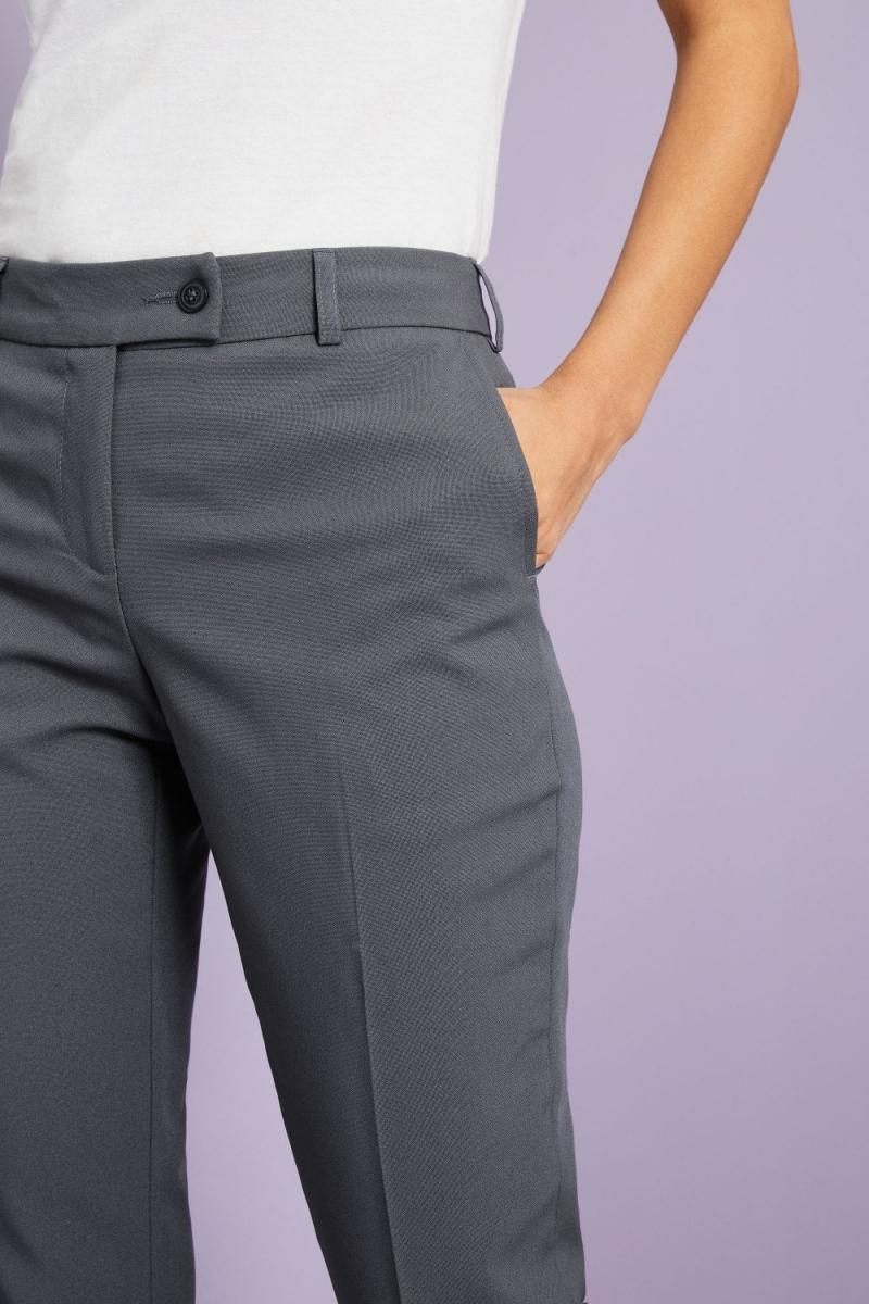 Ladies Slim Leg Pants, Unhemmed, Graphite