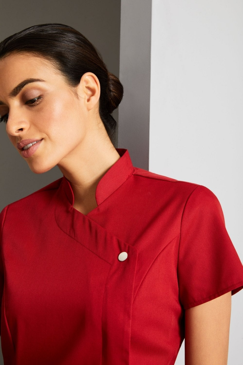 Definitive Feature Press Stud Tunic, Poppy Red